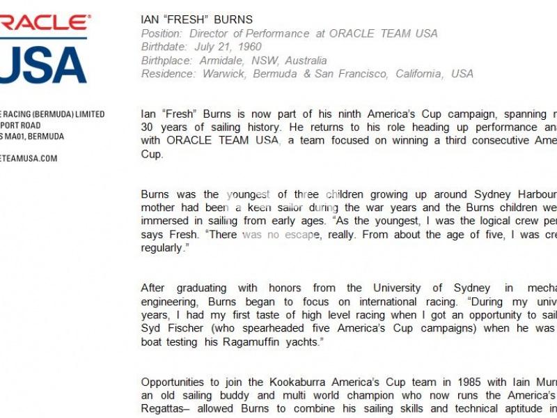 Ian Burns, Oracle Team USA