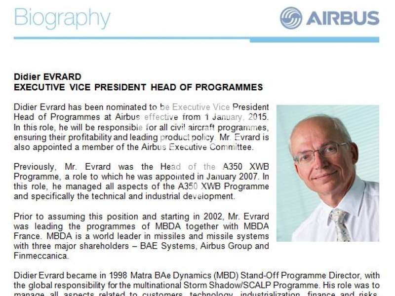 Didier Evrard, Airbus