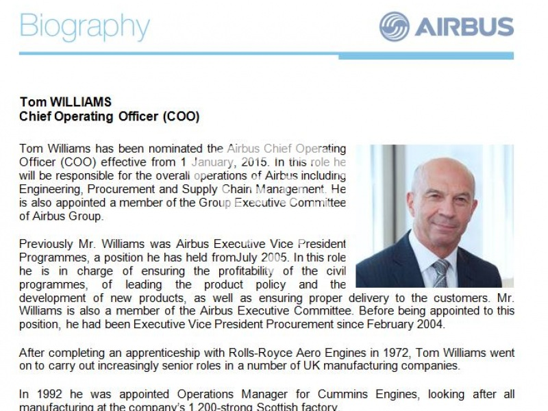Tom Williams, Airbus