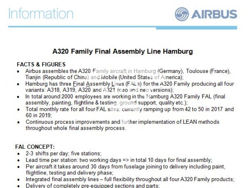 A320 Family Final Assembly Line in Hamburg