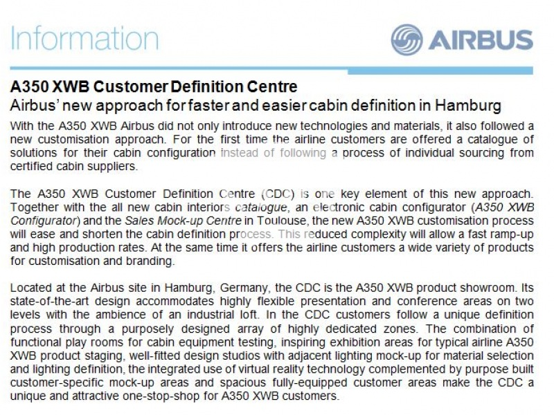 Airbus' new approach for faster and easier cabin definition