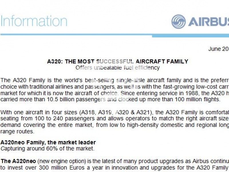 A320: The most successful aircraft family
