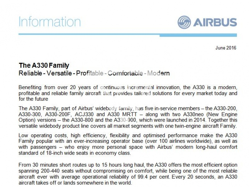 The A330 Family