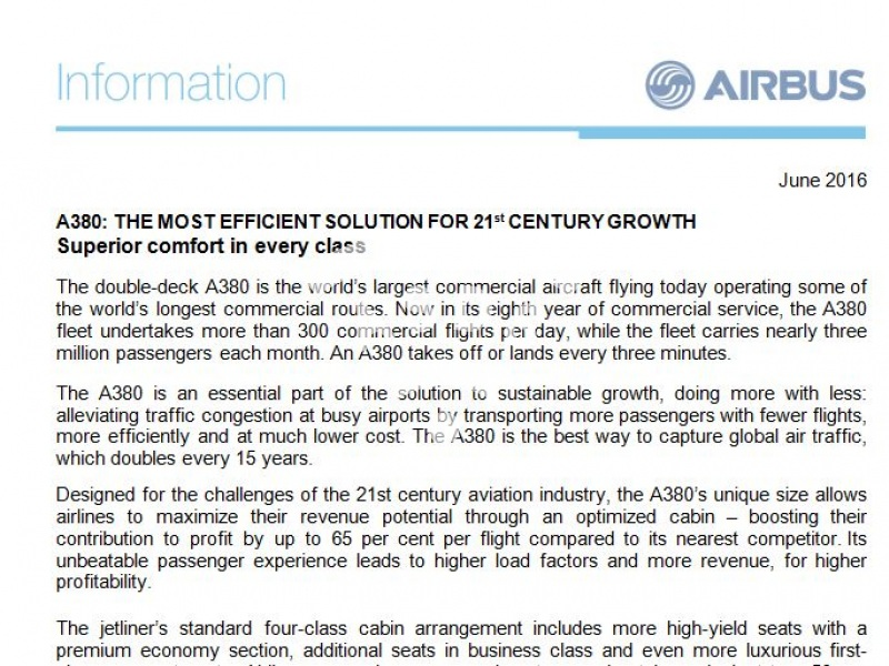 A380: The most efficient solution for 21st century growth