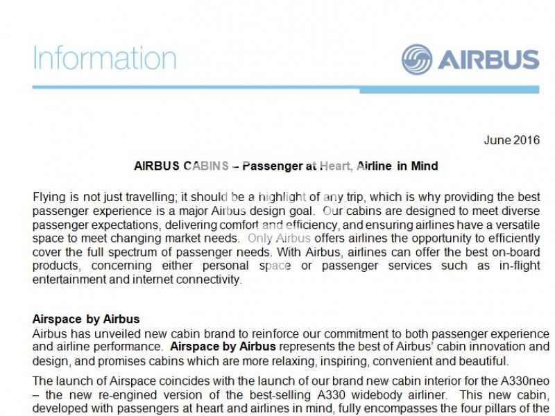 Airbus Cabins: Passenger at Heart, Airline in Mind