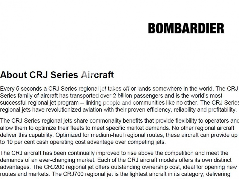 About CRJ Series Aircraft