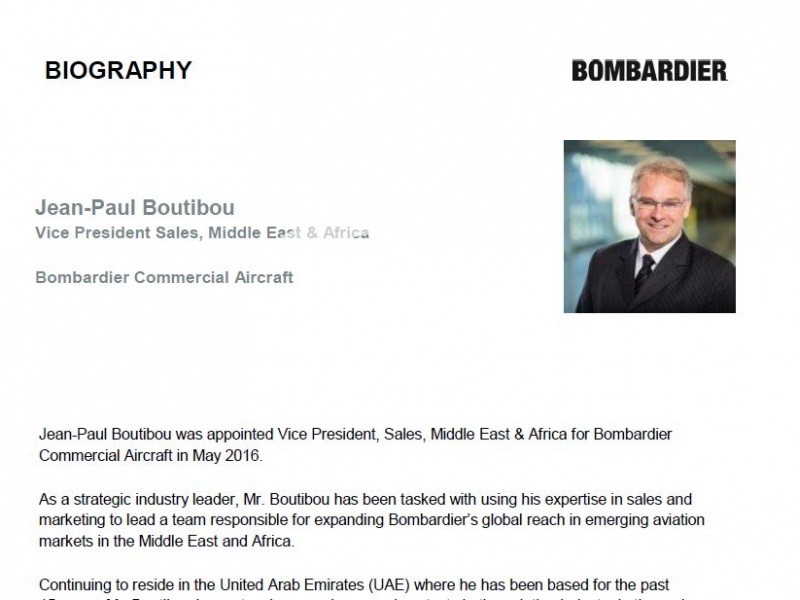 Jean-Paul Boutibou, Bombardier Commercial Aircraft