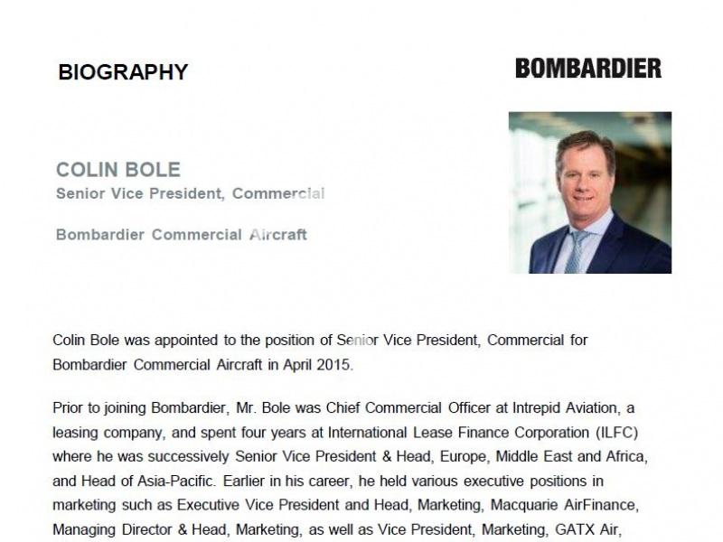Colin Bole, Bombardier Commercial Aircraft