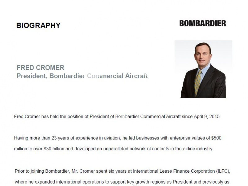 Fred Cromer, President, Bombardier Commercial Aircraft