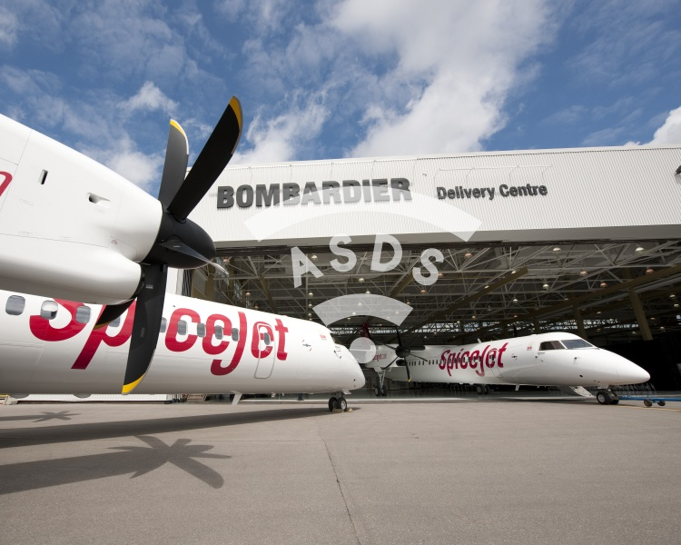 SpiceJet Q400 at Bombardier Delivery Centre