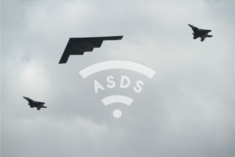US Air Force B-2 and 2 F-15 at RIAT