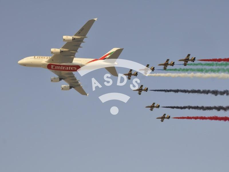 A380 and Al Fursan at Dubai Airshow 2013